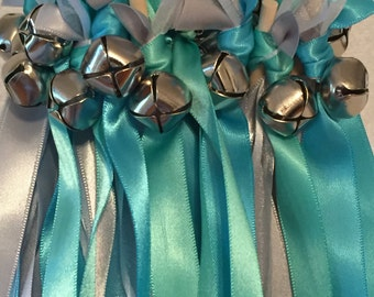 50 Wedding Wands/Wedding Ribbon Wands/Wedding Wand/Tropic Blue, Turquoise and White Sheer