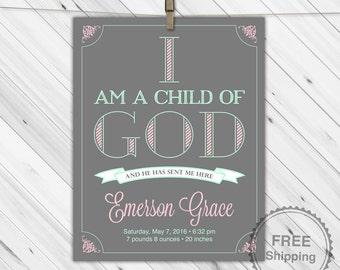 I am a child of God print | LDS nursery art girls | gray, mint, pink nursery decor | personalized baby girl gift | religious nursery art