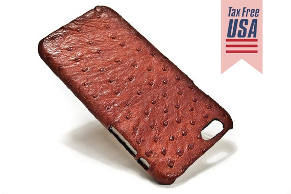 "Apple iPhone Genuine OSTRICH Leather Case for NEW iPhone X 8 7 6 4.7"" & PLUS 5.5"" iPhone SE5s Choose the Color"