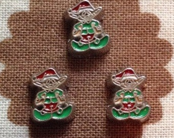 Christmas Elf floating locket charm