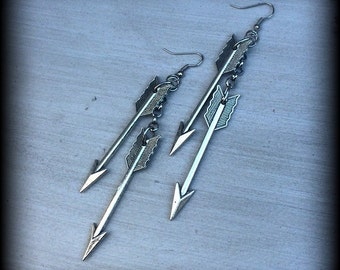 Silver Arrow dangle earrings Goddess Artemis 'Silver Arrow' Antiqued Silver Vintage Arrow earrings for pierced ears or stretched lobes 0g 2g