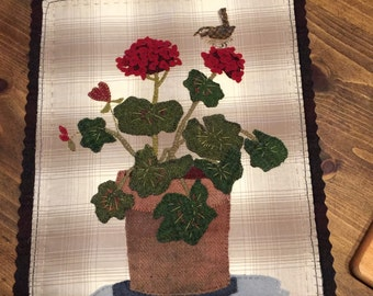 """This is""""Summer wren""""a wool applique pattern by Ewe+Us"""