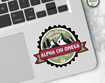 Alpha Chi Omega   Small Badge Decal   Sorority Big Little Reveal Gift   Official Licensed Product   AXO-BD
