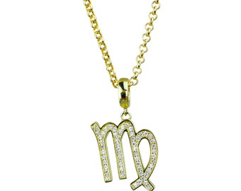 Virgo Symbol Of The Zodiac Gold Plated Pendant