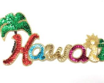 """Hawaii Applique, Sequin Beaded, 8.5"""" x 4.5"""",  -JJ3010-B313-0016-0241"""