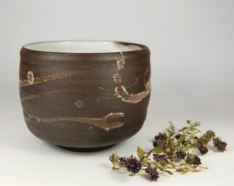 Dark brown Stoneware Teabowl/Chawan with White Glaze Rustic Tea cup Pottery wheel Coffee mug/artistic spots