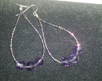 Hoop earrings Crystal charlote seed bead amethyst purple swarovski like