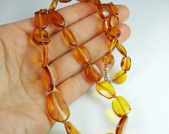 Amber Beads Amber Necklace Sterling Silver Clasp Beaded Necklace Baltic Amber Honey Amber Amber Bead Necklace Minimalist Necklace Fine R3763