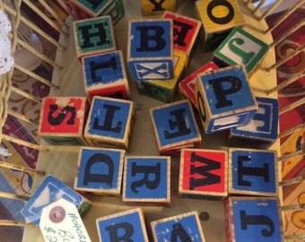 Vintage Children's Alphabet Wooden Blocks (24 Blocks Total)