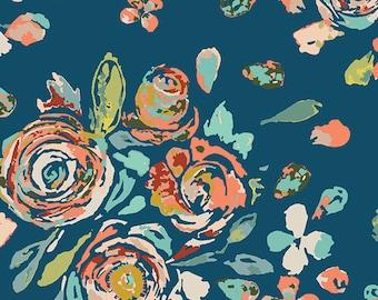 Navy Floral Fabric - Art Gallery Fabrics Swifting Flora Swell