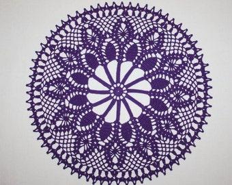 Purple Crochet Doily, Pineapple Doily, Round Lace Doily, Purple Lace Tablecloth, Cotton Doily, Table Topper, Dresser Doily, 12 inches