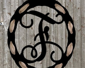 Wooden Monogram Scalloped Single Letter with Burlap Ribbon