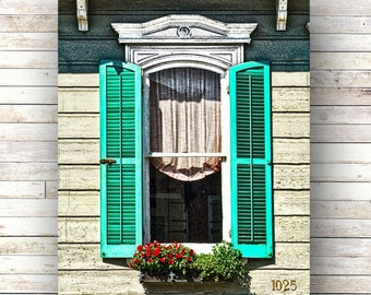New Orleans Art - 1025 - French Quarter Windows - Architecture - Window Photography - Windows - Shutters - Nola - Curtains - Flower Box