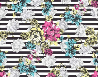 Aqua, pink, yellow, gray floral and black stripe craft  vinyl sheet - HTV or Adhesive Vinyl -  flower pattern vinyl  HTV7803