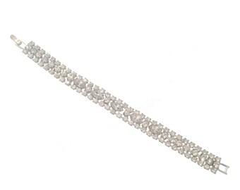 Marquise Rhinestone Bracelet, Vintage Bridal Bracelet, Multi-Strand Rhinestone Bracelet, Wide Link, Vintage Jewellery