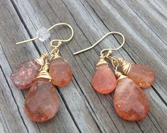 sunstone gold filled earrings faceted sunstone briolette and gold filled dangle earrings orange stone earrings orange crystal earrings
