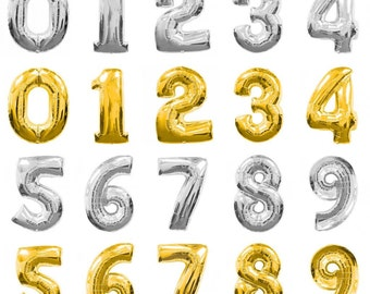 16 inch Gold Silver number balloons number 1-9 balloon Gold Silver Foil balloon 0,1,2,3,4,5,6,7,8,9 Birthday Anniversary Party Sweet 16
