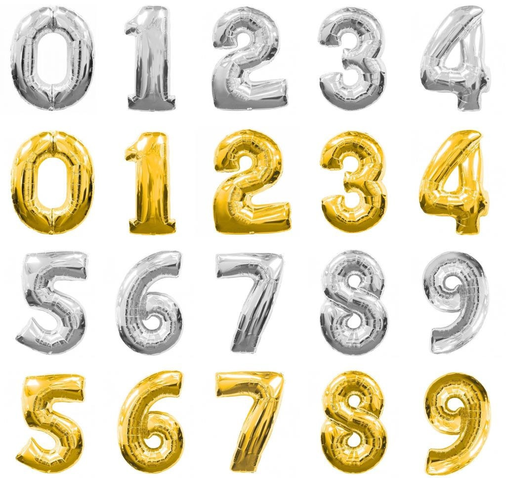 16 Inch Gold Silver Number Balloons Number 1 9 Balloon