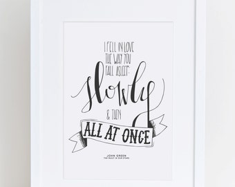 I Fell In Love The Way You Fall Asleep | John Green Quote Print