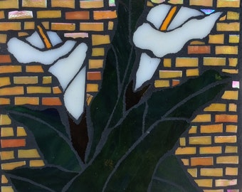 Beautiful Cala Lily Flower Mosaic Wall Art