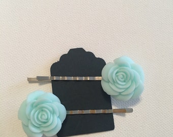 Baby Blue Resin Button Rose 2pc Bobby Pin Set