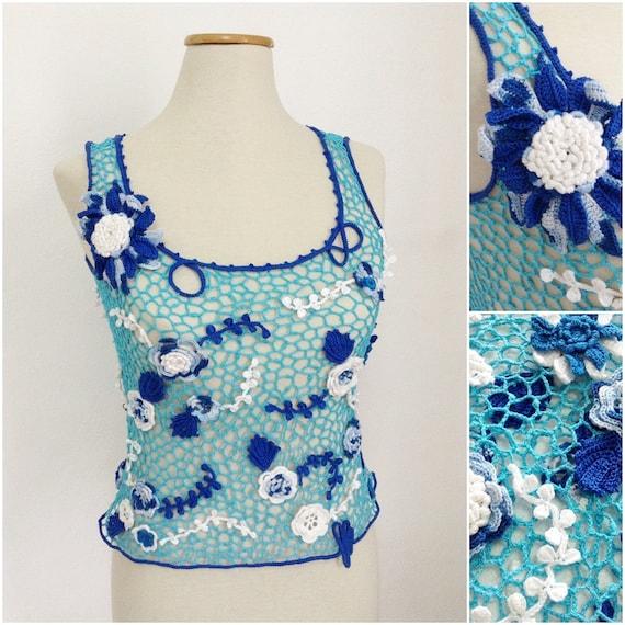 OOAK crochet top, exclusive summer top, blue shades top, boho crochet top, sexy top, irish crochet top, lace top, sleeveless tops
