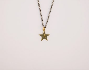 Initial Necklace - A to Z personalised custom star stamped handmade