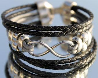 braided, leather Bracelet, woman leather Bracelet, Infinity, Boho, hippie Style, Bracelet