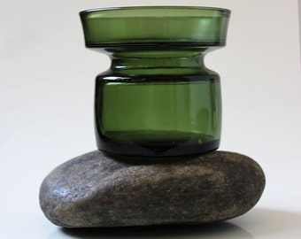 Dansk Green Vintage IHQ glass candle holder -- Set of 4