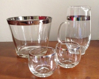 Dorothy Thorpe Silver rim set of snack bowl, pitcher and 2 roly poly glasses