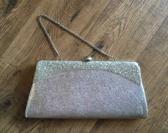 Vintage Silver Glitter clutch, 50s retro clutch, 60s purse, glam handbag, chain handle