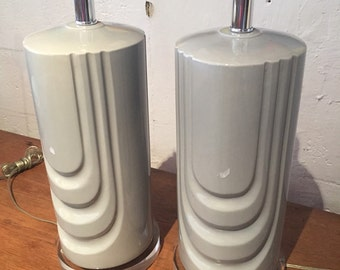 mid century cersmic grey lamps on lucite bases