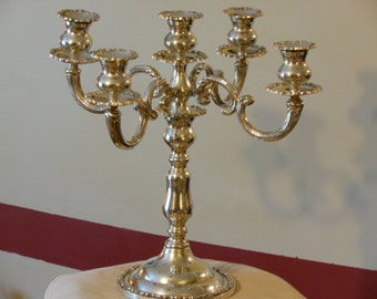 SIA Silver Plate Vintage Five-Branch 13-Piece Candelabra