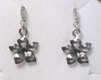 Flower Dangle Earrings; Sterling Silver Post Earrings
