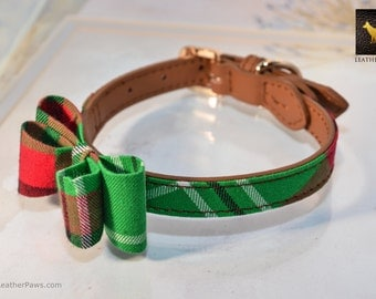 "Christmas Dog Collar Beautiful Red Green Plaid Design Leather and Cloth Combo with Bow Tie Christmas -  Neck: 7.5"" to 14"""