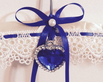 Lace and Sapphire Heart Hanger