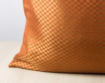 Burnt Orange Euro sham Pillow cover 24x24, Silk Pillow with Gold Dot's