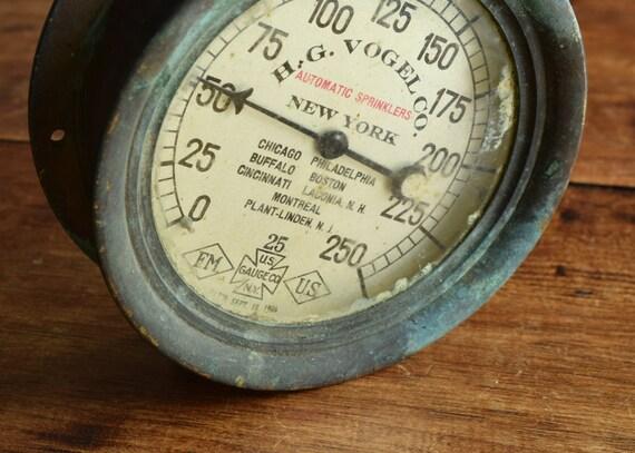 Industrial steampunk pressure gauge h g vogel large vintage - Steampunk pressure gauge ...