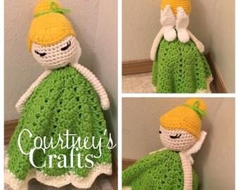 Inspired Tinker Bell Lovey, Fairy Lovey, Security Blanket, Toy Doll blanket