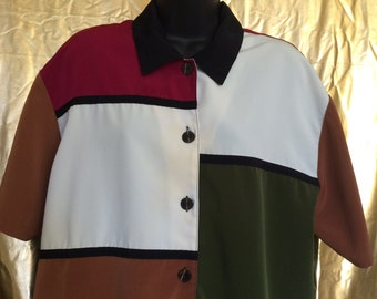 Colorblock Oversized Button Up