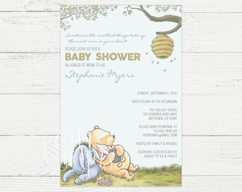 Classic Winnie The Pooh Baby Shower Invite
