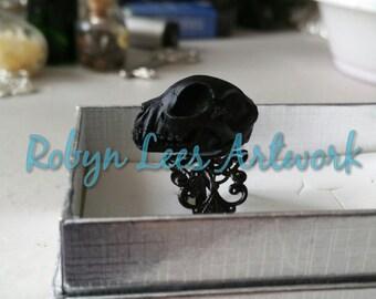Small Black Resin Cat Kitten Skull Adjustable Black Filigree Ring, Animal Anatomy, Gothic Anatomical