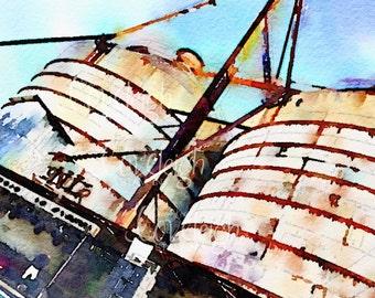 Watercolor Magnolia Market Silos Art Digital Photo