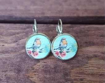 Drop Earrings - Vintage Birds - Stainless Steel - 12mm