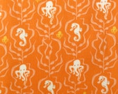 Fabric, Heather Ross Mendocino, Octopi and Sea Horses in Orange, By the Yard