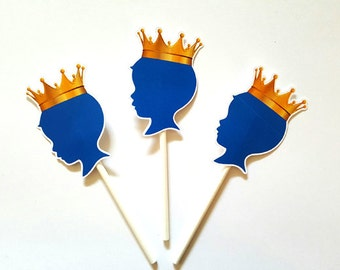 Prince Baby Shower Cupcake Toppers - Royal Prince Cupcake Toppers, Royal Blue and Gold Prince Cupcake Toppers