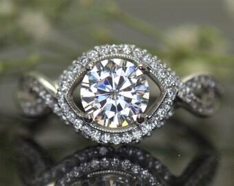 1ct Forever One Moissanite Engagement Ring, Diamond Halo and Twisted Split Shank Band, 18k White Gold, Marquise Shape Halo, Milgrain, Ana