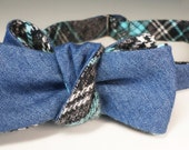 Japanese denim bowtie in a fine twill pale indigo... over brushed cotton: charcoal, sterling & turquoise Huntington plaid. Slim adj self-tie