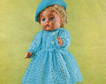 Vintage knitting pattern for 16 inch dolls from the 1960's.  Outfit knitted in 4 ply yarn.