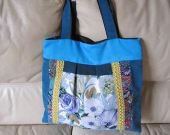 Tote bag, Tote, blue and green bag, tote bag,